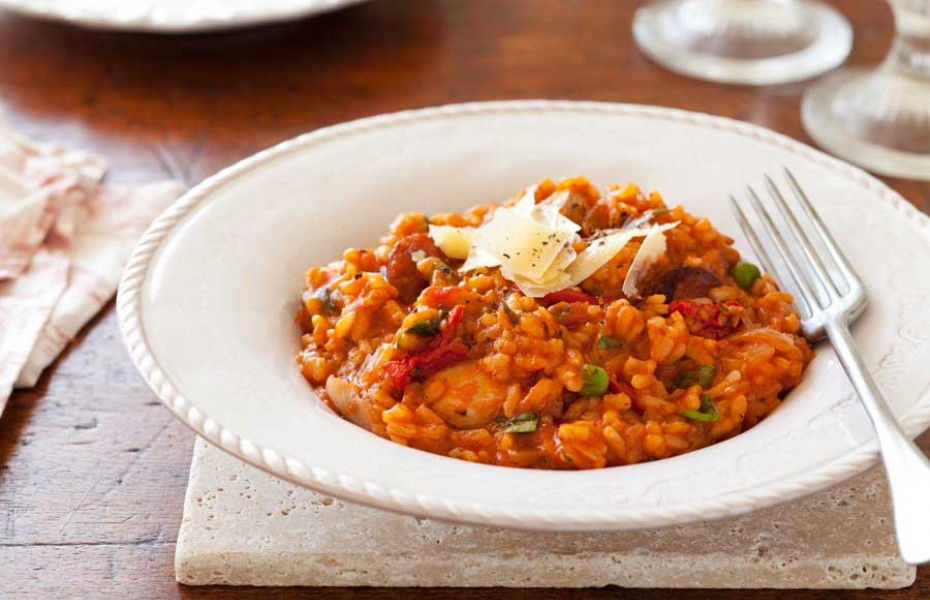 Oven baked chicken & chorizo risotto