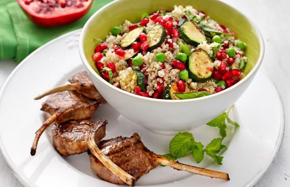 Zucchini, Pea and Quinoa Salad with Lamb Cutlets