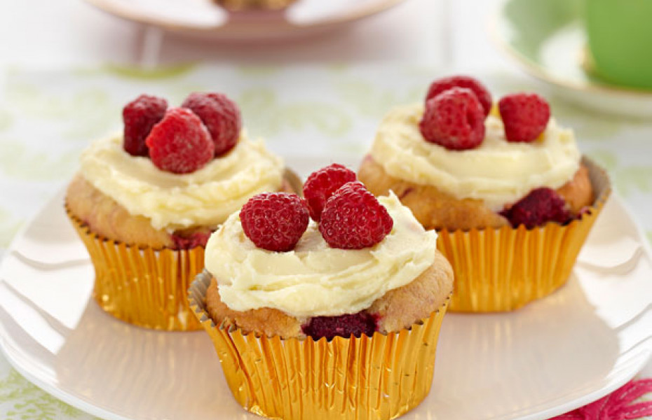 Hazelnut Berry Muffins with White Chocolate Frosting