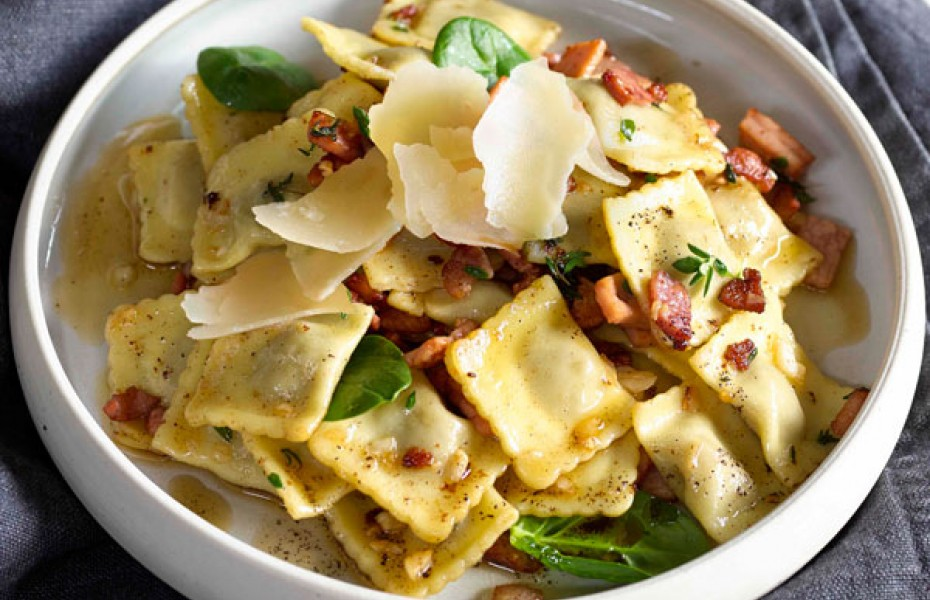 Beef Ravioli with Thyme Burnt Butter and Bacon by Western Star butter