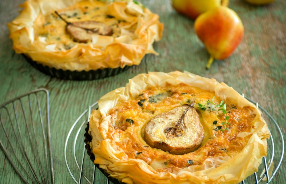 Pear and Blue Cheese Filo Tarts