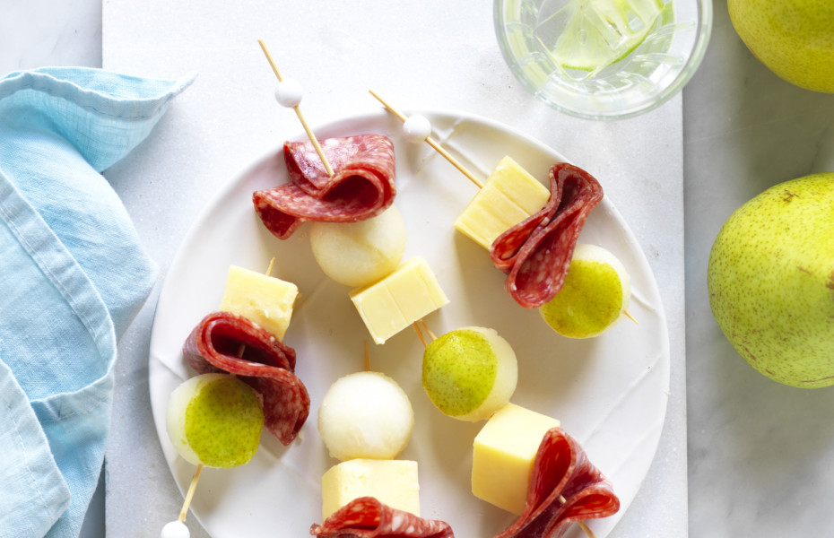 Pear, Salami and Cheese Skewers
