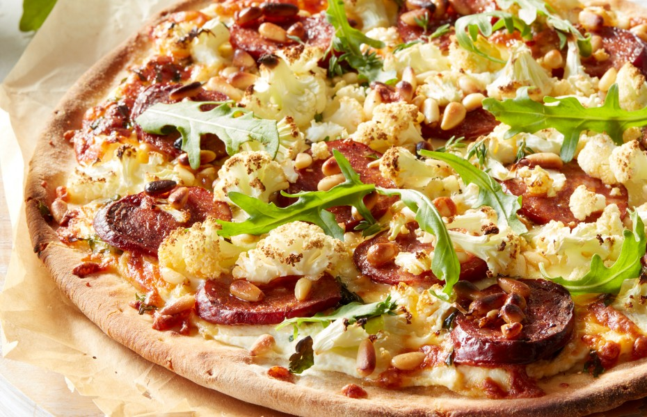 Cauliflower, Chorizo and Ricotta Pizza