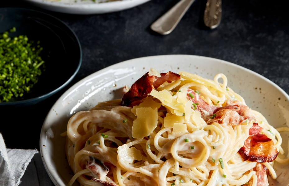 Spaghetti with Crispy Pancetta with 4 Cheese Ricotta