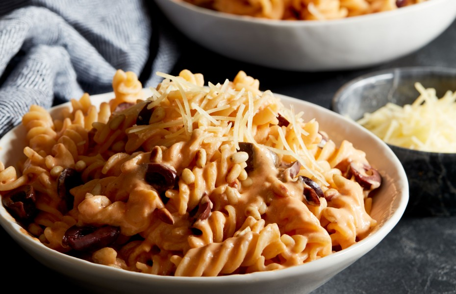 Olive and Toasted Pine Nuts Fusilli with Sundried Tomato Ricotta