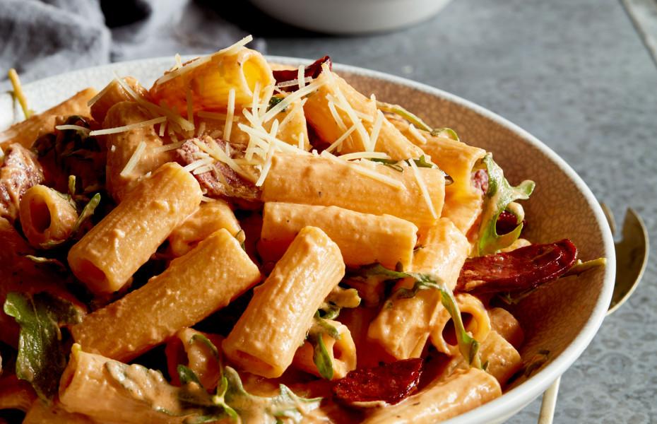 Rocket and Chorizo Rigatoni with Sundried Tomato Ricotta