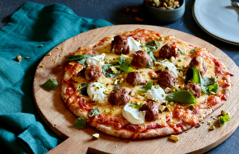 Moroccan Lamb, Yoghurt, Pistachio and Mint Pizza