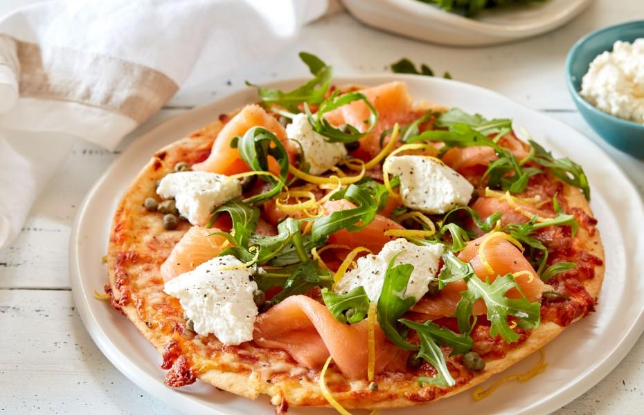Smoked Salmon, Ricotta and Rocket Pita Pizza