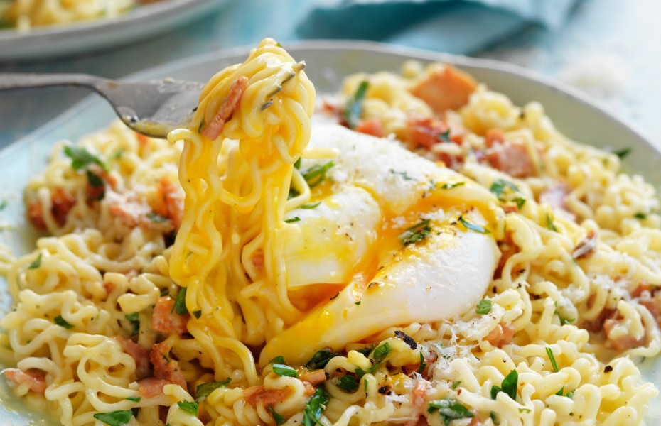 Cheat's pasta carbonara made with 2-minute noodles and a poached egg