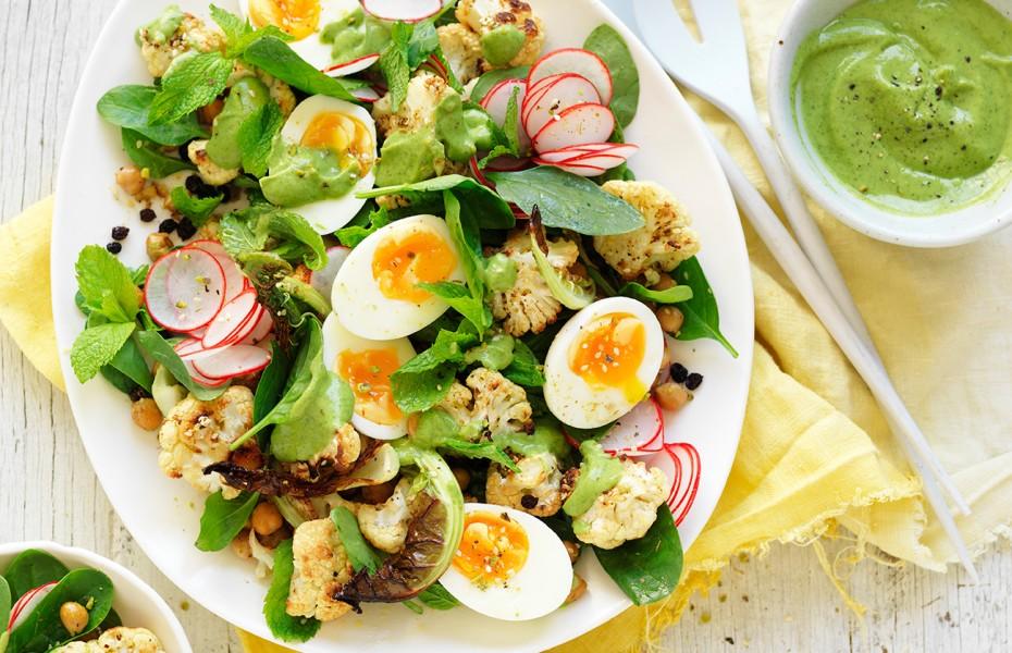 Roasted Cauliflower Salad recipe with Avocado Dressing