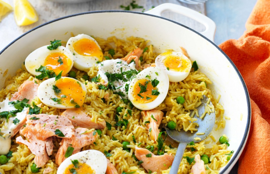 Salmon kedgeree recipe with curry and eggs