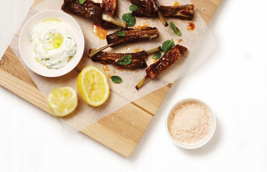 Spice Rubbed Lamb Ribs with Mint and Lemon Yogurt