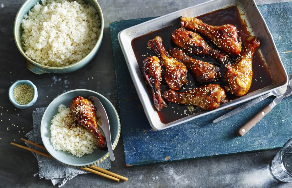 Honey Soy Chicken Drumsticks with Coconut Rice