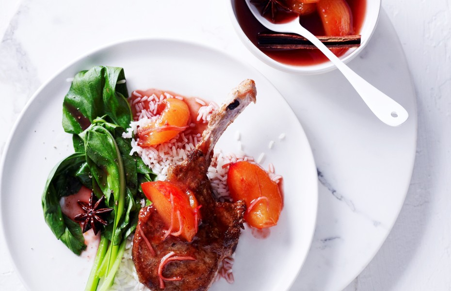 Spiced-Pork Cutlets With Blood Plum Sauce