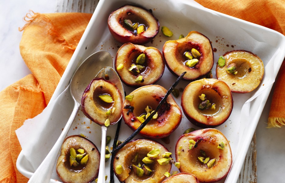 Cardamom Roasted Nectarines with Vanilla and Coconut Yoghurt