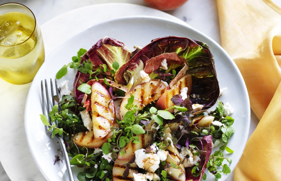 Grilled White Peach, Radicchio and Goats Cheese Salad