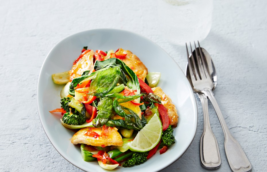Coconut Chicken Stir Fry with Sweet basil and Chilli