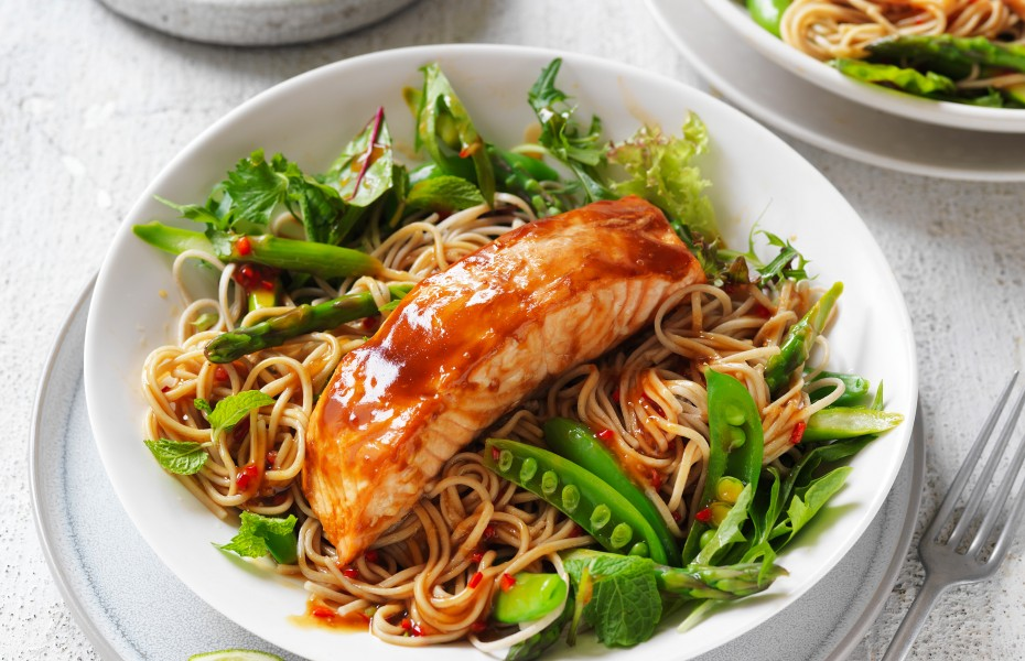 Teriyaki Salmon Soba Noodle Salad recipe