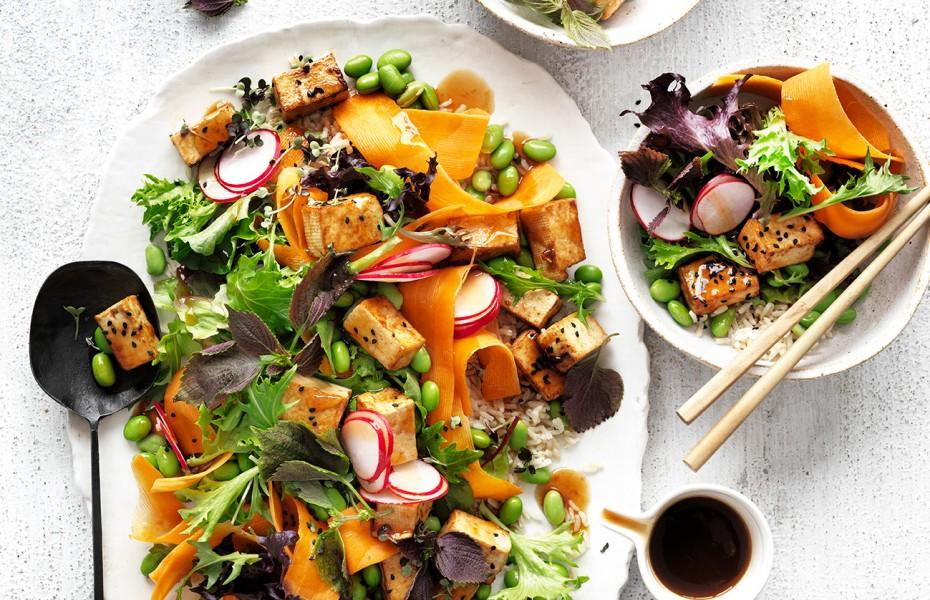 Try this hearty high-protein vegan recipe of teriyaki tofu salad.