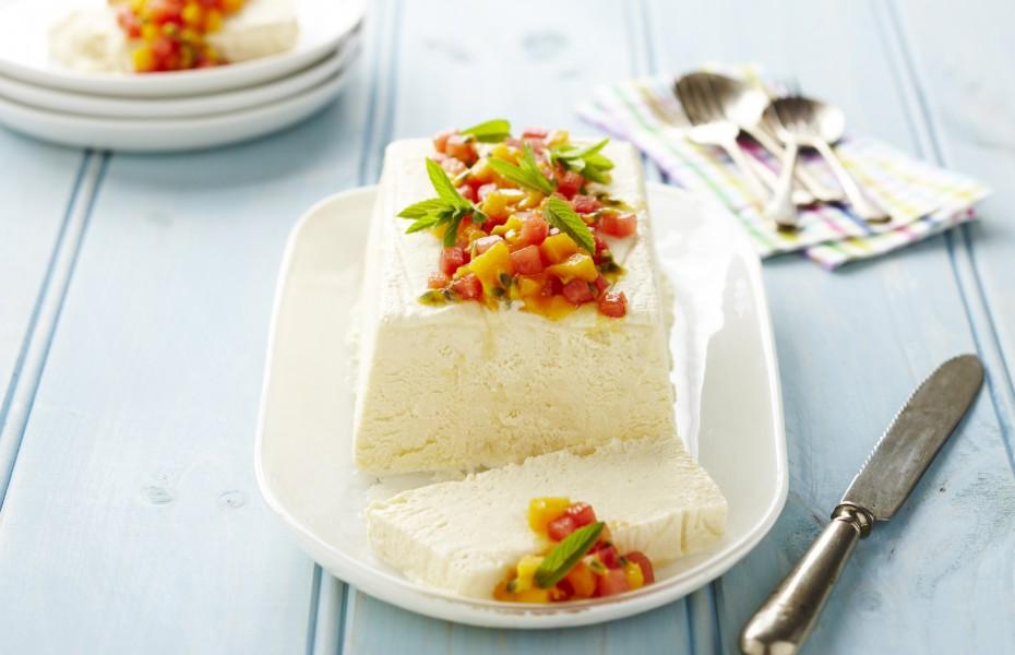 Ricotta and Honey Semifreddo with Mango and Watermelon Salad