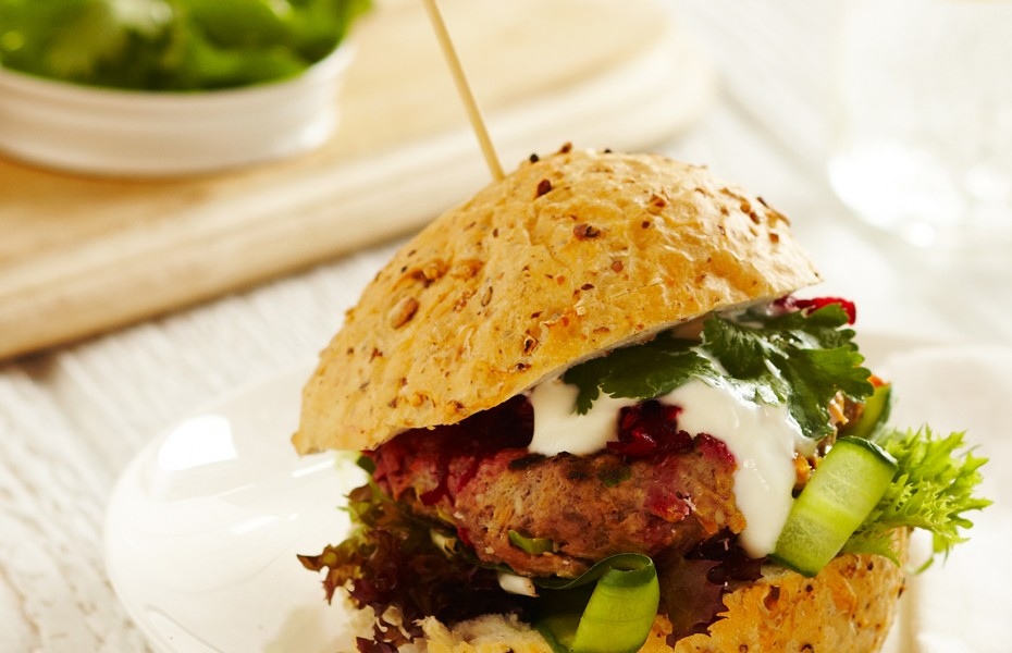 Spiced Lamb Burgers with Yogurt and Fresh Beetroot Relish