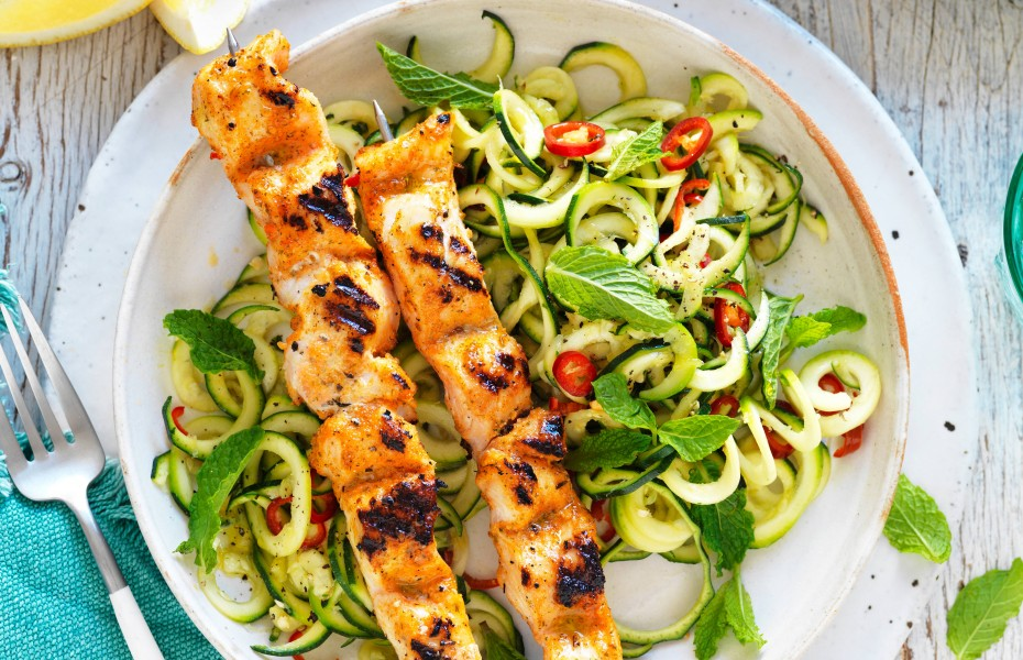 Tuscan chicken skewers with lemon, chilli and mint zoodles