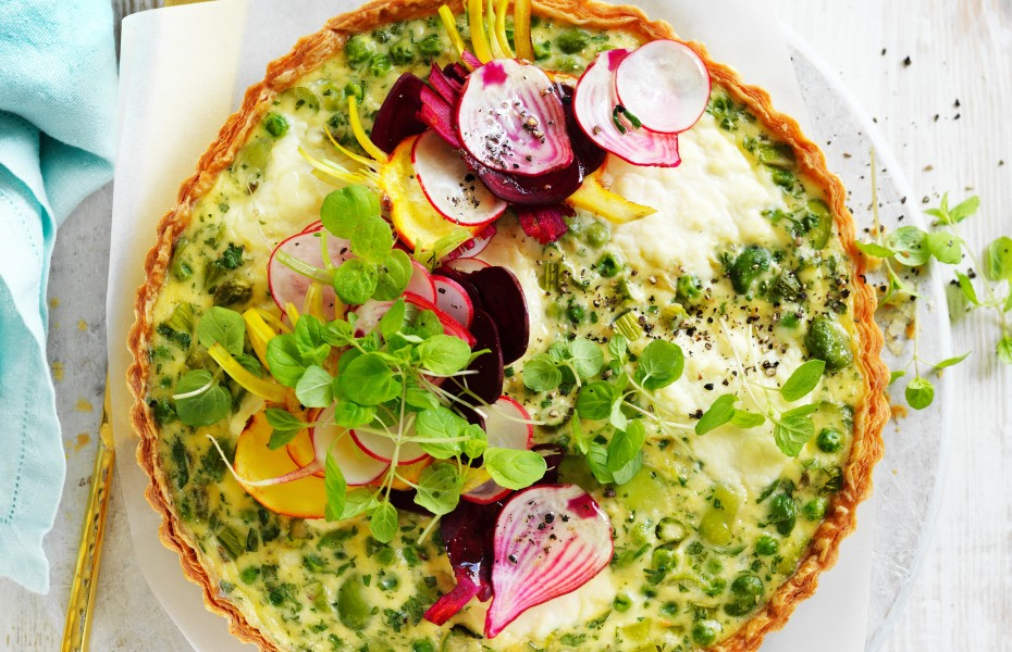 Summer vegetable tart with mixed beet salad
