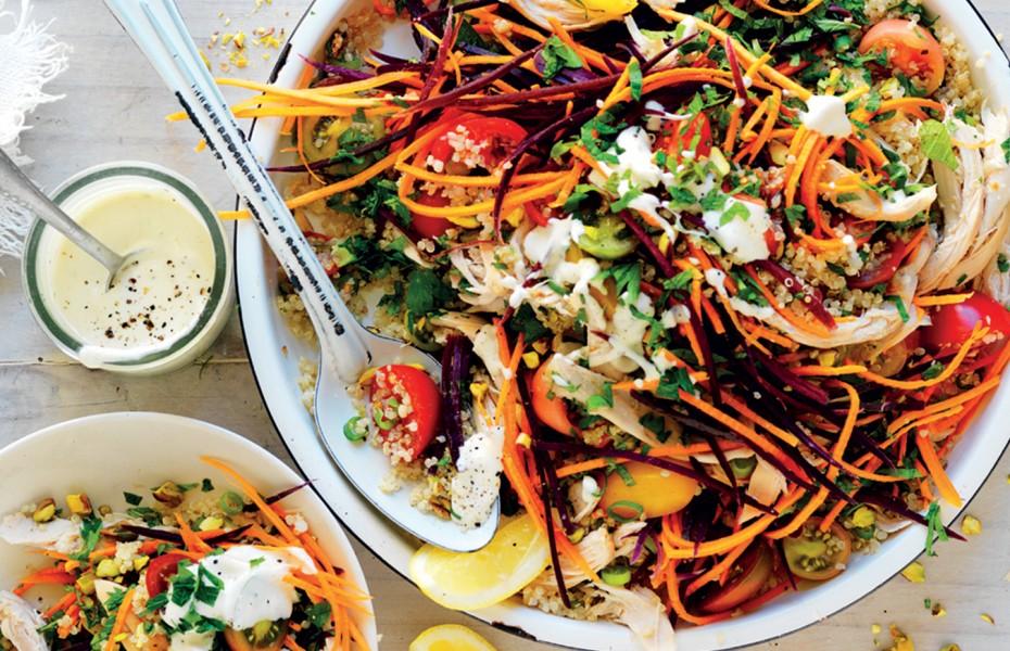 Carrot, tomato and chicken quinoa salad