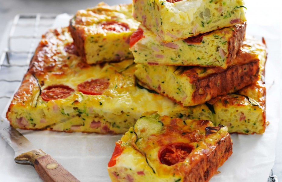 Classic bacon and zucchini slice recipe