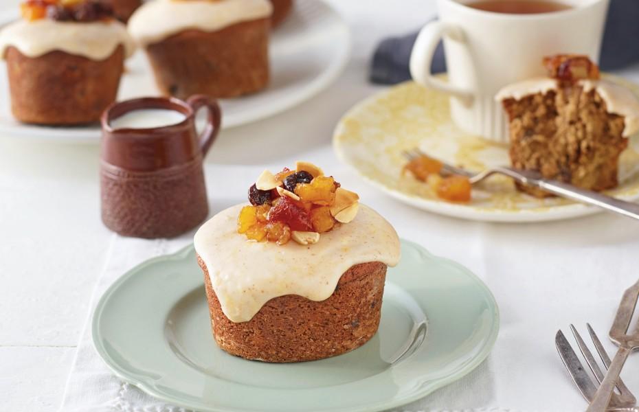 Gluten Free Mini Fruitcake with Lemon & Cinnamon Icing