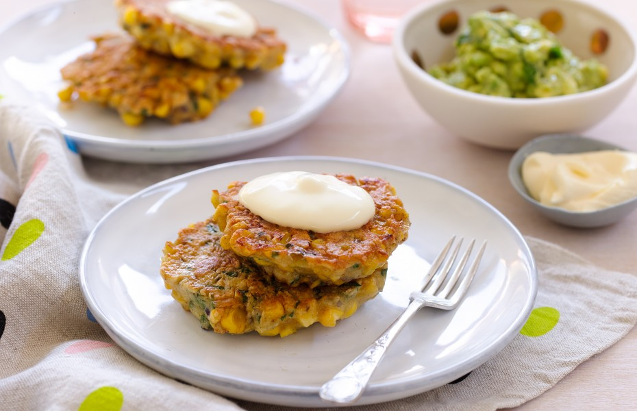 Sweetcorn Fritters with Avocado Smash Recipe