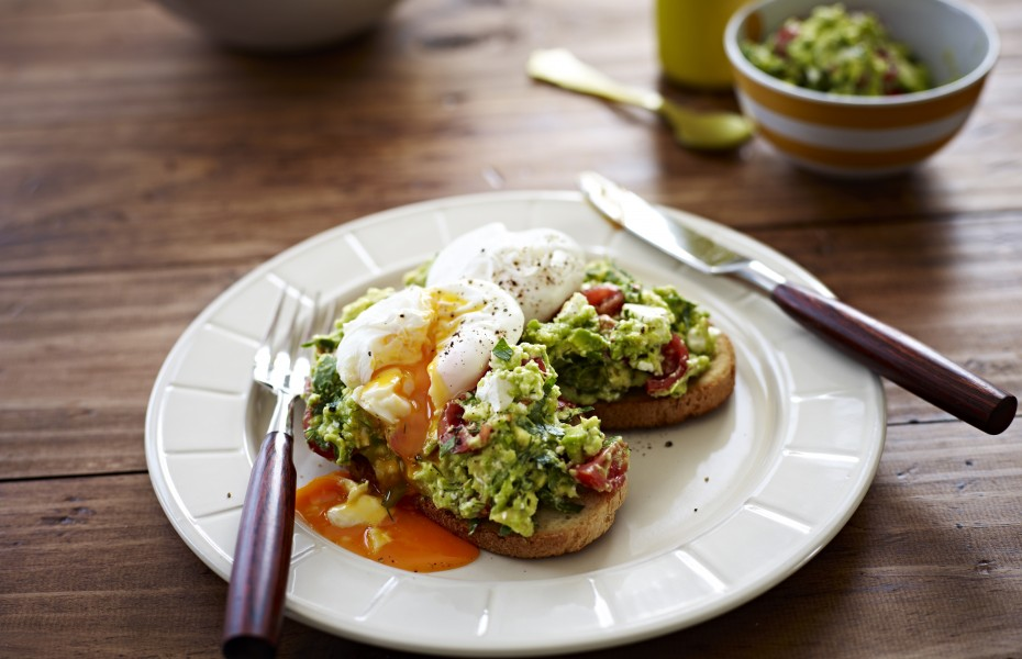 Poached Eggs with Avocado Feta Smash on Sourdough Toast