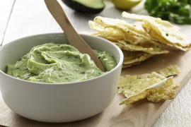 Light and Creamy Avocado Dip with Parmesan Pita chips