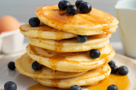 The best pancake recipes for Pancake Day: basic pancakes with blueberries and syrup