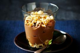 Chocolate custard dessert in a glass cup