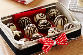 Christmas chocolate truffles with chocolate drizzle