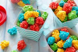 Rainbow colourful party snacks