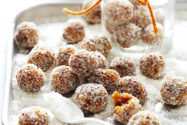Healthier sweet snack energy fruit balls