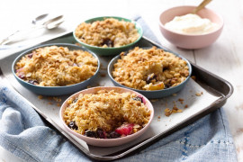 Mini pear and blueberry crumbles