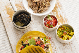 Pork Carnitas, Black Beans, Salsa