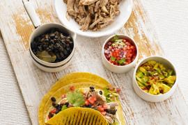 Pork Carnitas, Black Beans, Salsa
