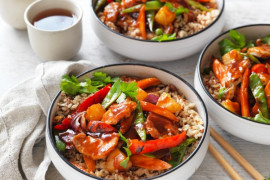 Sweet and sour pork in bowls