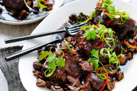 Asian-Style Slow Cooked Beef Cheeks with Mushrooms