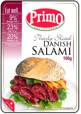 Primo Thinly Sliced Danish Salami is fantastic for making great sandwich recipes and perfect to add to a cheese board
