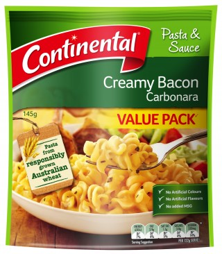 Continental Value Pack Pasta and Sauce Creamy Bacon Carbonara
