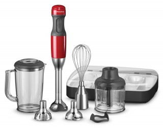 It's time to get excited with the KitchenAid Artisan Deluxe Hand Blender. Perfectly weighted with a rubber hand stick grip, it powers through any culinary task, whether it's blending, mincing, chopping, whipping, pureeing or frothing. With five speeds and five attachments, it's perfect for small daily jobs that require a quick, smooth and uniform result. The patented pan guard prevents scratching of cookware when pureeing soups and protects the blades when not in use. Standard Inclusions Stainless steel S-b