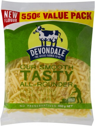 Devondale Tasty All Rounder Shredded Cheese, smooth tasting cheese that can be used in a huge variety of dishes.