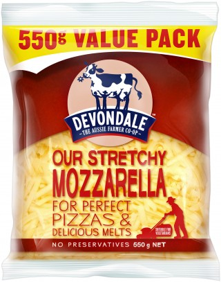 Devondale Shredded Mozzarella Cheese, a deliciously mild cheese great for pizza, pasta and bakes