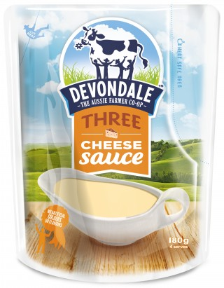Devondale Three Cheese Sauce, perfect for making lasagnas, pastas, bakes and risottos.