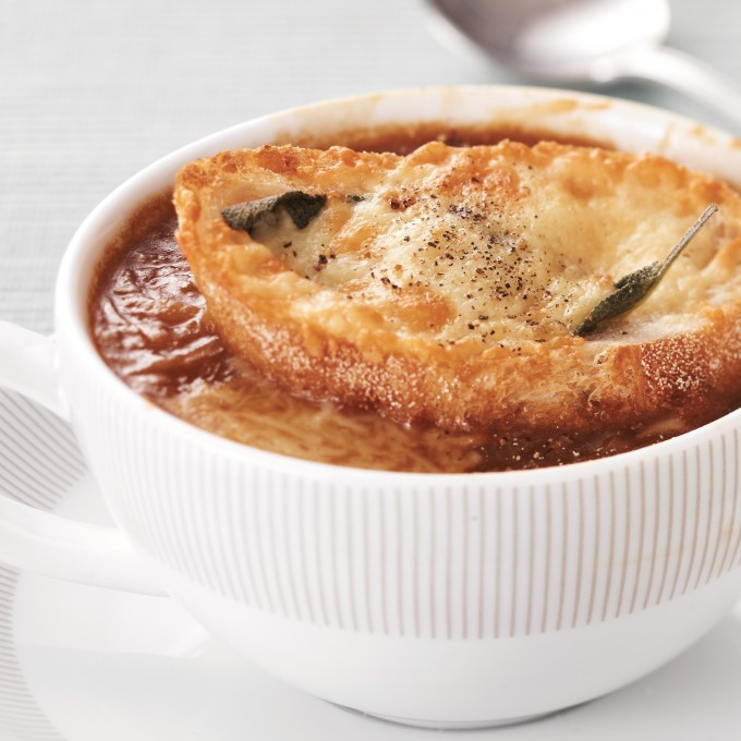 French onion soup with parmesan sage croutons